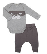 Kushies Long Sleeve Bodysuit & Harem Pant Set Heather Grey