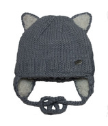 Calikids Iceland Acrylic Knit & Berber Hat with Ears Grey