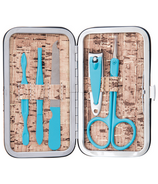 Danielle Cork Collection Manicure Case with Blue Implements