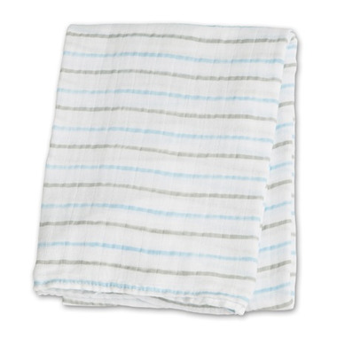 Lulujo Baby Muslin Cotton Swaddling Blanket Blue Messy Stripe