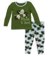 Kickee Pants Print Long Sleeve Pajama Set Winter is Here