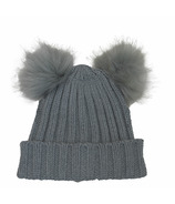 Calikids Cashmere Touch Infant Hat with Pom Poms Grey
