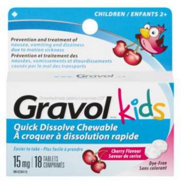 Gravol Kids Quick Dissolve Chewable Tablets