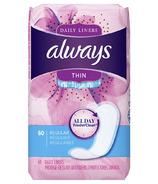 Always Protège-dessous quotidien mince Régulier non parfumé, enveloppé