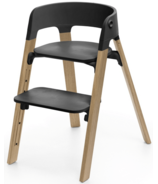 Stokke Steps Chair Natural Oak Legs & Black Seat