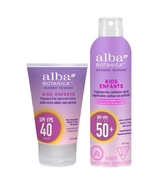 Alba Botanica Kids Sunscreen SPF 40+ Lotion & Spray Bundle