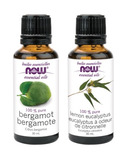NOW Foods Bergamot + Lemon Eucalyptus Essential Oil Set