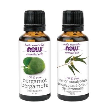 NOW Foods Bergamot + Lemon Eucalyptus Essential Oil Set