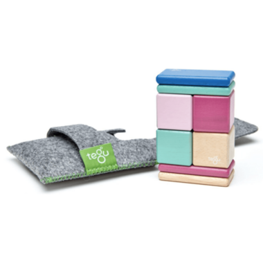 Tegu Original Pocket Pouch Magnetic Wooden Block Set Blossom