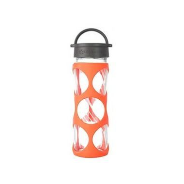 Lifefactory Glass Bottle Grey Classic Cap & Bright Orange Silicone Sleeve