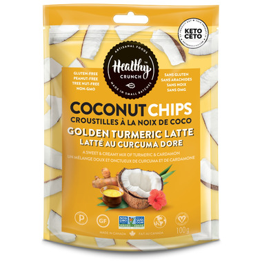 Healthy Crunch Golden Tumeric Latte Coconut Chips