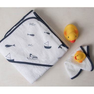 Little Unicorn Cotton Hooded Towel & Wash Cloth Set Nautical Harbour