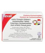 Rexall Jr. Strength Childrens Comprimés d'acétaminophène Raisin