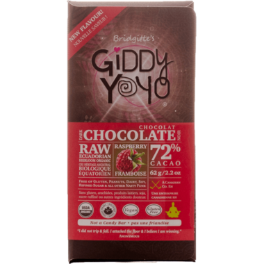 Giddy Yoyo Raw Organic Chocolate Bar Raspberry