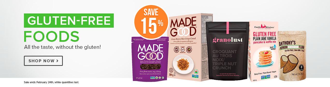 Save 15% off Gluten Free Foods