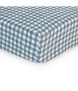 Lulujo Crib Sheet Navy Gingham