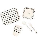 YoungLUX Vaisselle en fibre de bambou pour enfants - Set cadeau Chevron