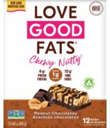 Ensemble de deux boîtes de barres collations à saveur de beurre de cacahuètes et de chocolat Love Good Fats