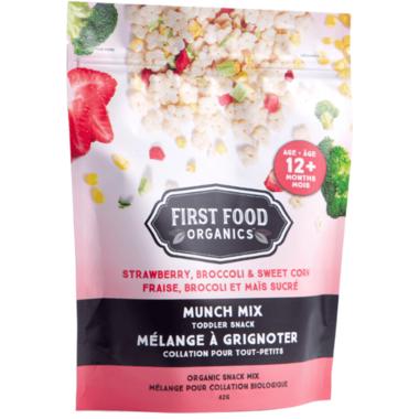 First Food Organics Strawberry Broccoli Sweet Corn Munch Mix