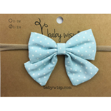 Baby Wisp Headband Sailor Bow Blue & White Polka Dots