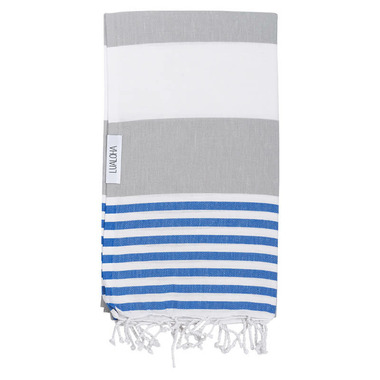 Lualoha Turkish Towel Striped Goodness Light Grey & Blue