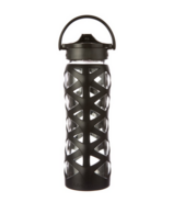 Lifefactory Glass Water Bottle with Axis Straw Cap & Onyx Black Sleeve