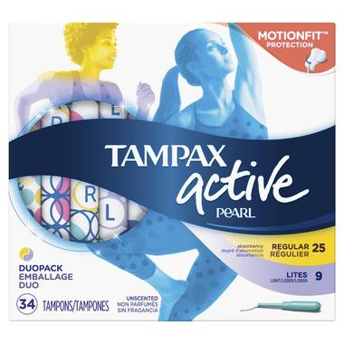 Tampax Pearl Active Plastic Tampons Duo-Pack