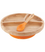 Avanchy Toddler Bamboo Stay Put Suction Divided Plate & Spoon Orange