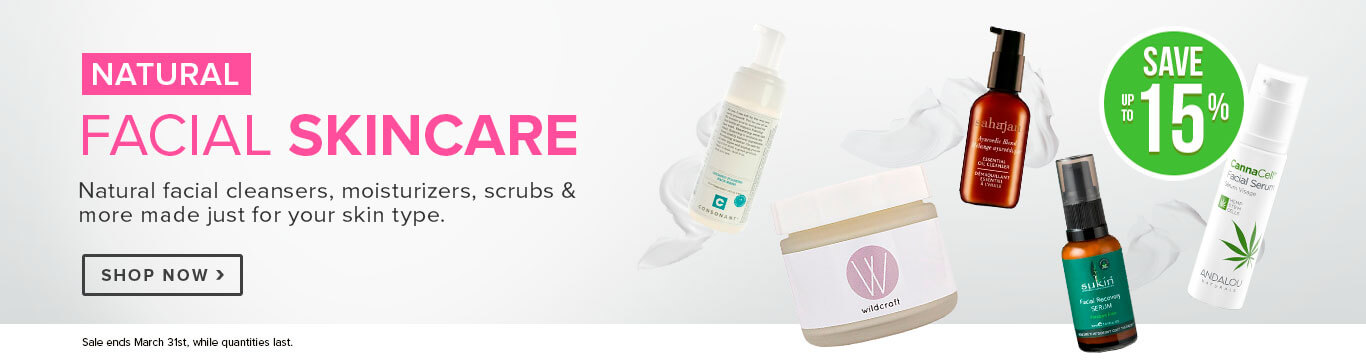 Save Up to 15% Off All Natural Facial Skincare
