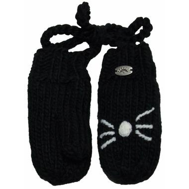 Calikids Iceland Acrylic Knit & Berber Mitten Black