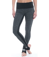 Gaiam Avalon Foldover Legging Charcoal Heather Black Trim & Placement Print