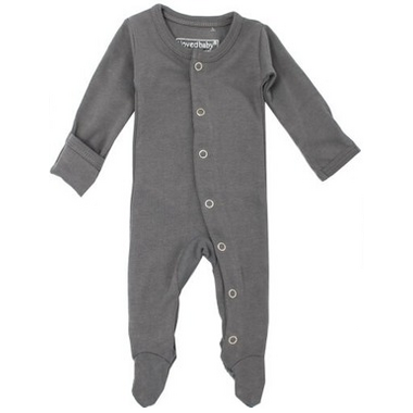 L\'oved Baby Organic Footed Overall Gray