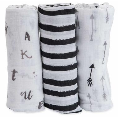 Little Unicorn Cotton Muslin Swaddle Set Black & White