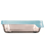 Anchor Hocking True Seal 6 Cup Rectangular Glass Container Mineral Blue
