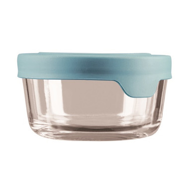 Anchor Hocking True Seal 2 Cup Round Glass Container Mineral Blue