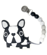Loulou Lollipop Boston Terrier Silicone Teether with Clip