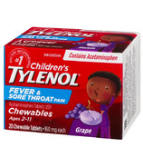Tylenol Children's Fever and Sore Throat Pain Chewable Tablets Grape