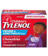 Tylenol Children's Fever & Sore Throat Pain Chewable Tablets Grape