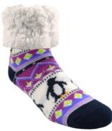 Pudus Classic Slipper Socks Lilac Penguin