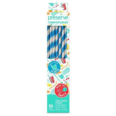 Preserve Compostables Straws Blue