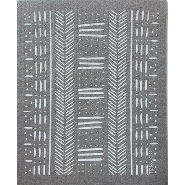 Ten & Co. Swedish Sponge Cloth Gray/White Mudcloth