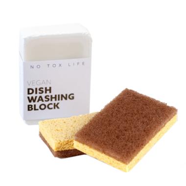 No Tox Life Dish Block Bar & Walnut Scrubbing Sponges Bundle