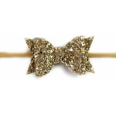 Baby Wisp Glitter Bow Headband Gold