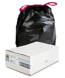 Genuine Joe Flexible Black Drawstring Trash Can Liners