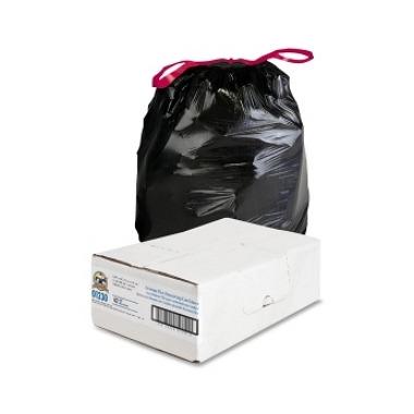 Genuine Joe Flexible Black Drawstring Trash Can Liners