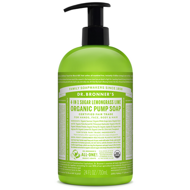 Dr. Bronner\'s 4-in-1 Sugar Lemongrass Lime Organic Pump Soap