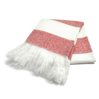 Harman Bold Stripe Faux Mohair Throw Red