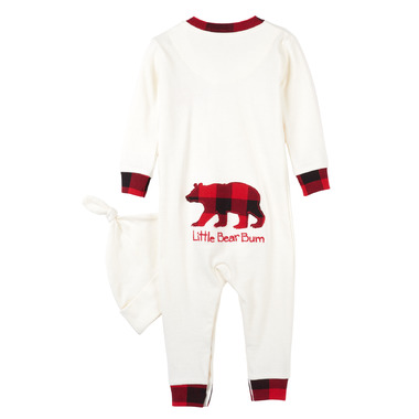 Hatley Little Blue House by Hatley Baby Romper with Cap Buffalo Plaid