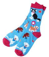 Hatley Little Blue House Women's Crew Socks Cute Pups
