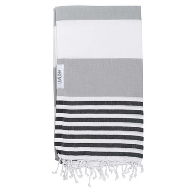 Lualoha Turkish Towel Striped Goodness Grey & Black